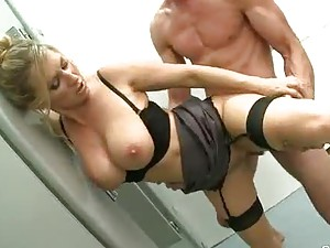 Tasty girl in stockings fucked in the bathroom