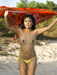 Asian Beauty Strips At Beach