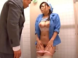 Sexy janitor Reiko Nakamori gets fucked in the bathroom