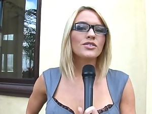 Stunning Reporter Gets Involved In A Threesome With A Big Cock