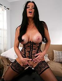 Black lingerie on porn goddess