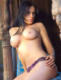 Selena Spice - Classy and busty brunette wench teasing with her large melons