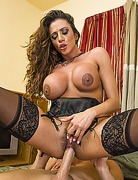 Sexy stockings on big tits mommy