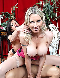 Two milf team up in threesome