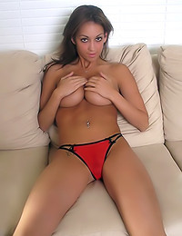 Mandy Michaels - A sexy black top and red panties decorate her sexy body