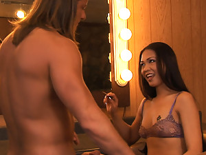 Horny Asian hottie gets her face fucked hard in the dressing room
