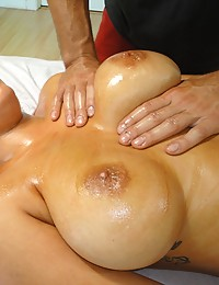 Bimbo gets a full release on the massage table