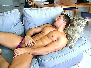 Muscled Man Masturbating