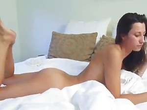 Solo brunette takes us on a tour of her body