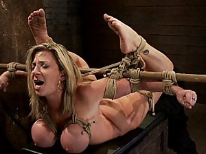 Hogtied MILF with HUGE