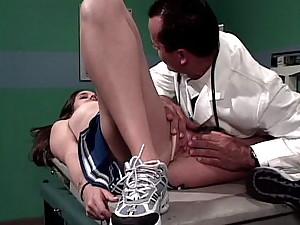 Sensuous brunette cheerleader Kacey slurping a large pecker