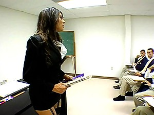 Hot teacher gets fucked deep in her hairy pussy