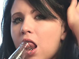 Hot Josie - The hot star of this vid has got a gorgeous pierced tongue that seems to be made for tickling cock - and she doesn't mind showing you how she uses it.