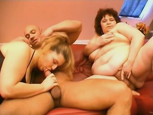 Chubby Darling and Her BBW Friend Share Dildo And a Thick Fat Dick
