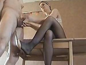 Sexy lady mistress gives a shoejob