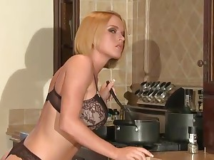 Bathroom blonde for big dick