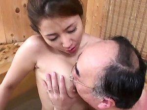 Sakiko Mihara?s nipple gets licked by this horny mature man