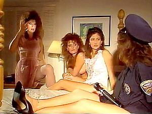Sex crazy girlfriends of 1980s porn fuck in bed