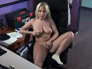 Busty Blonde Amateur Masturbates To Lesbian Porn