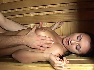 Hot Brunette Teen Gets Anal Pleasure in a Sauna