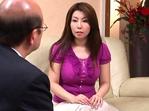 Sakiko Mihara sucks on a mature cock and loves the feeling of it