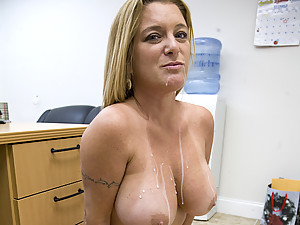 Milf with large tits taking cumshot