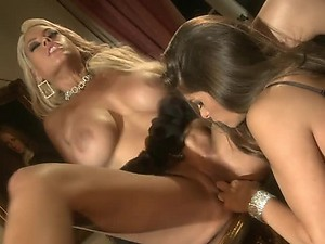 Big Breasted Lesbians Eating and Toying Each Other's Pussies