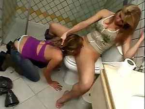 Submissive eats femdom pussy in the bathroom