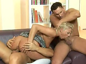 Sexy Blonde Gets Double Penetrated By Two Fat Cocks