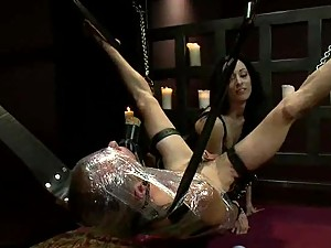 Male Slave gets his Ass Brutally Whipped by Femdom