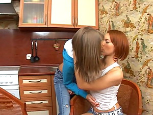 Cutie teens in lesbian action