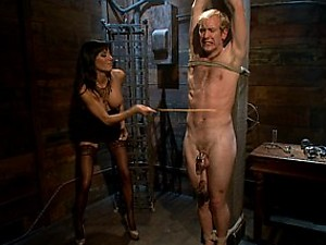 Gorgeous dominatrix locks slaveboy up in an array of chastity devices and sexually frustrates him to the fullest extent!