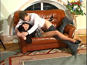 Pantyhose Milf in Glasses and the Boy