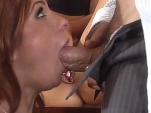 Boss Joins His Two Lesbian Secretaries In a Threesome