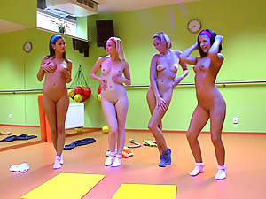 4 teens exercising and riding cock right in the pilates studio