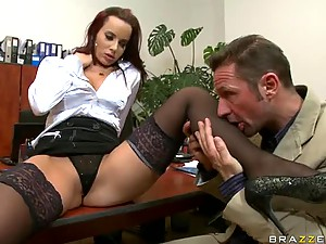Cock-Bursting Office Slut Cindy Dollar Gets Ass Fucked and Facialized