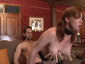 Lovely Redhead Rides A Hard Cock As Her Boobs Are Being Tortured