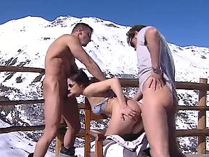 They DP this hot slut on a ski trip