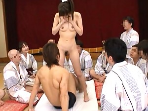Yuu Asakura gets teased by men before beginning to ride big dick