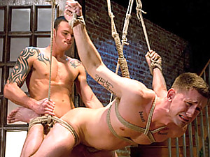 Rope suspension and ass fucking