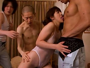 Mature Misa Yuki licks on the guys while they touch her sexy body