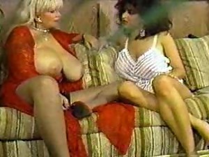Two huge tit retro pornstars playing