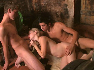 Teen Dorf - In the wine cellar, this fun loving cutie invites these young studs to live out her wildest fantasy with her. Soon, she has two rock hard dicks inside of her at the same time!
